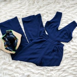 Navy jumpsuit with cut out sides